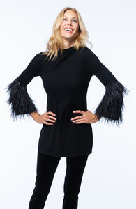 Tyler Boe Black Tunic Top with Feather cuffs