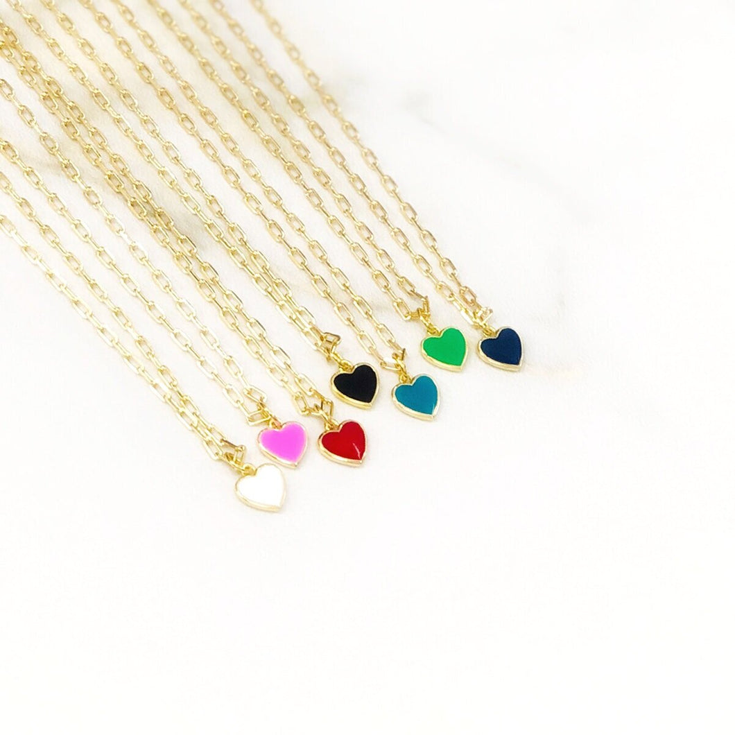 Small Enamel Heart Necklace
