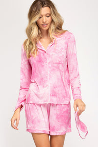Hot Pink Tie Dyed Cozy Pajama Set with Mask