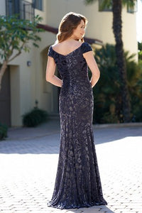 Jade 205051 Beautiful Floral Stretch Velvet Gown