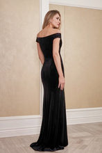 Load image into Gallery viewer, Jade J215058 Stretch Velvet Off the Shoulder Gown