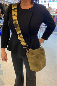 Olive Green Faux Fur purse