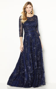 Cameron Blake 118682 Long Sleeved Embroidered and Beaded Gown