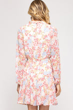 Load image into Gallery viewer, Long Sleeved Spring Print Short Dress