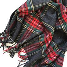 Load image into Gallery viewer, Charcoal Grey Cashmere Feel Tartan Plaid Scarf