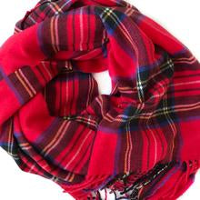 Red Cashmere Feel Tartan Plaid Scarf