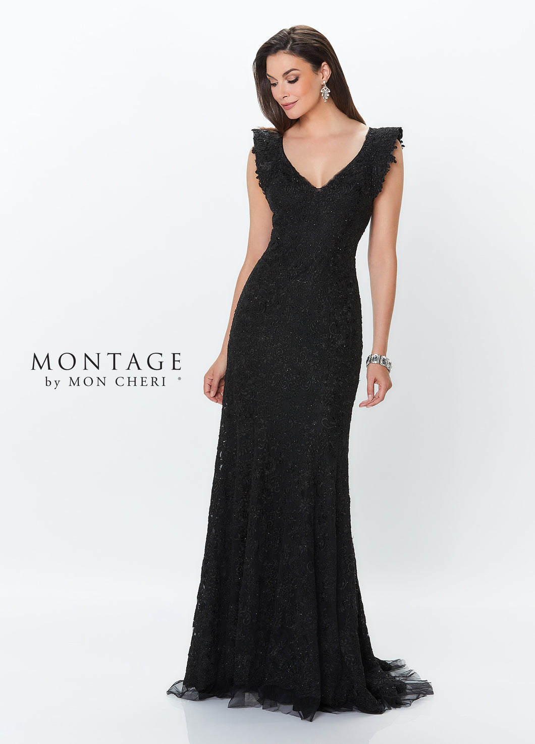 Montage 119941 Lace Gown with Flutter Cap Sleeve