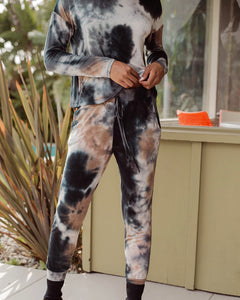 Navy and Black Mixed Tie Dye Jogger