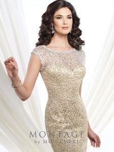 Montage 215912 Long Beaded Cap Sleeve Gown