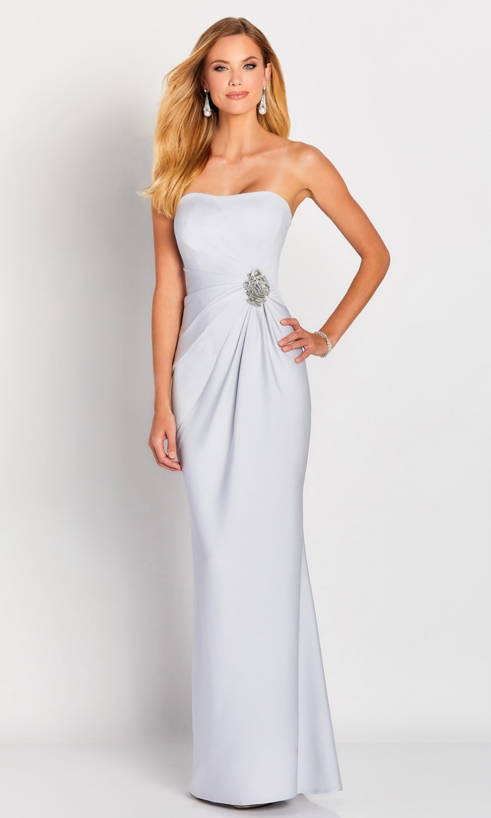 Cameron Blake 119650 Silver Strapless Gown