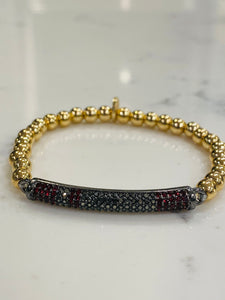 Valentine Red and Navy Pave stone bar design bracelet
