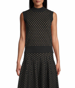 Nicole Miller Diamond Jacquard Sleeveless Top