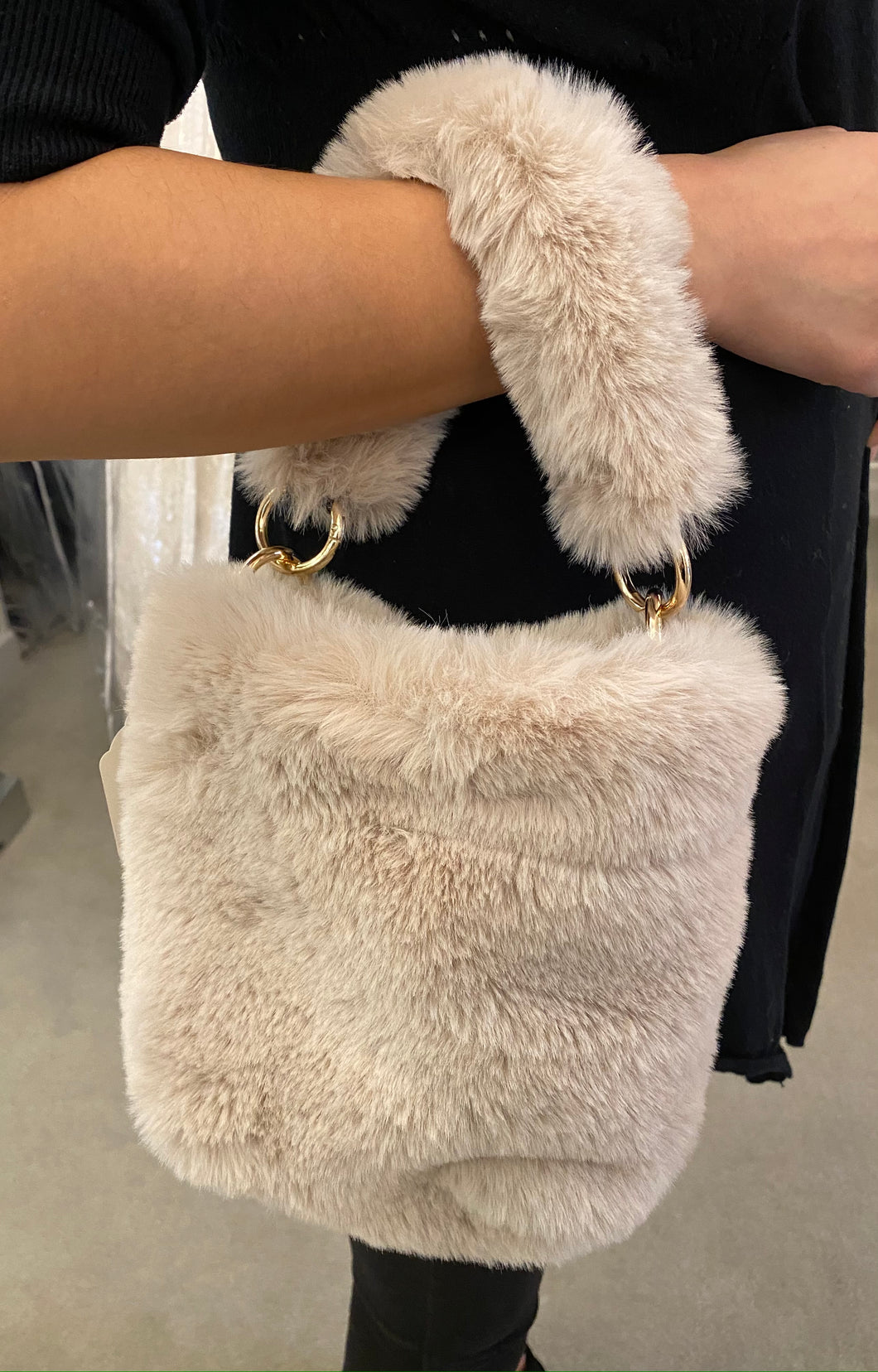 Beige Faux Fur Purse
