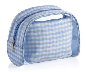 Blue Gingham Cosmetic Pouch