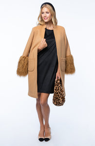 Tyler Boe Camel Coat with Faux Fur Cuff.