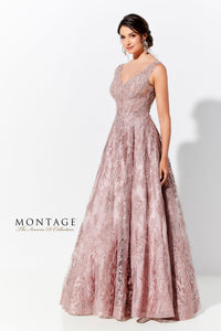 Ivonne D 120D10 Embroidered lace Ball gown with Detachable sleeves.
