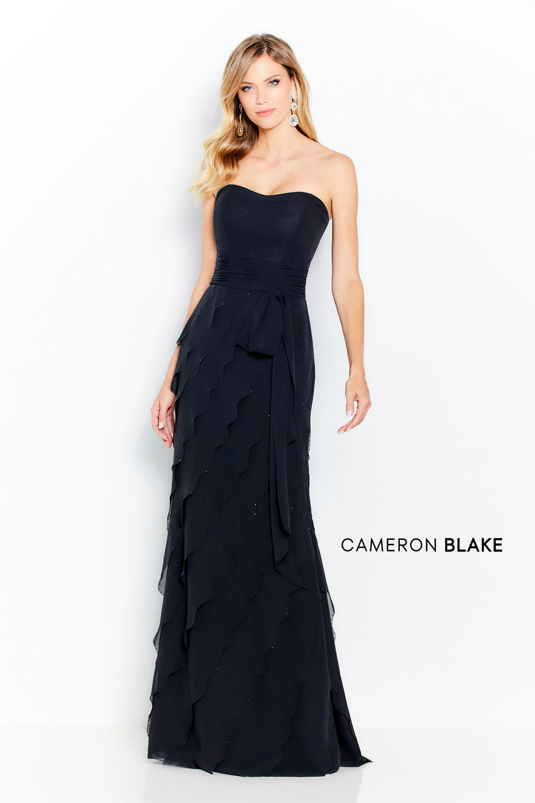 Montage 120613 Strapless Chiffon gown with Off the Shoulder Shawl