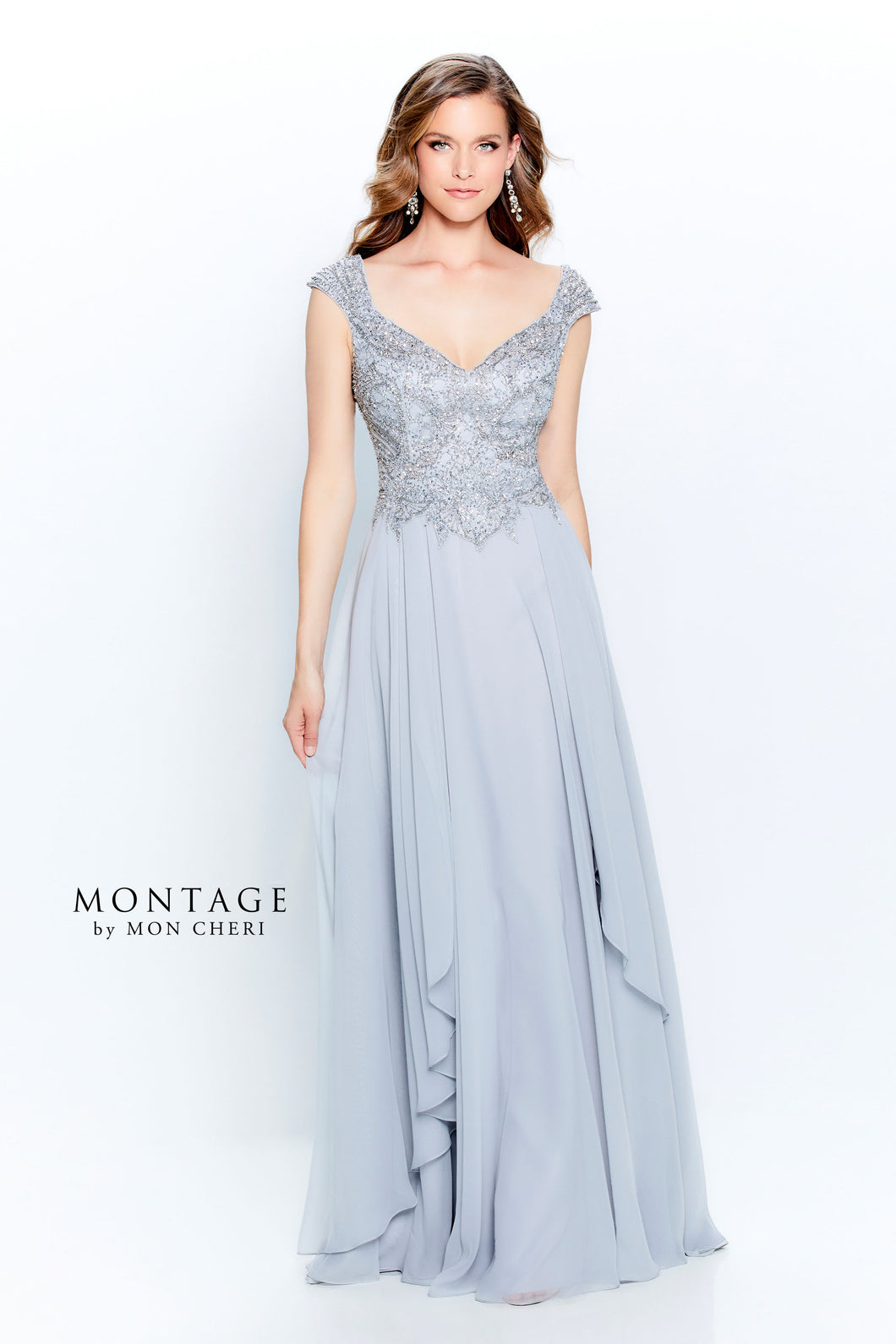 Montage 120914 Chiffon Off the Shoulder Gown