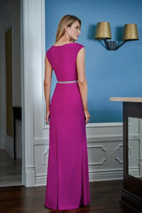 Jade J225009 Cap Sleeved Jersey A-Line Gown with Beaded Waist