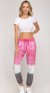 Pink and Grey Tie Dye Joggers