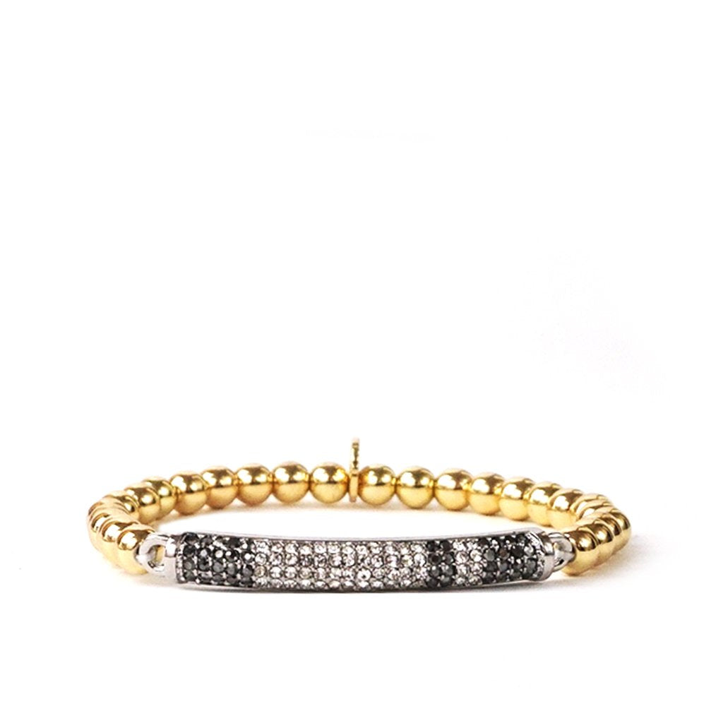 Metal ball Stretch bracelet with Multi-color pave stone bar design