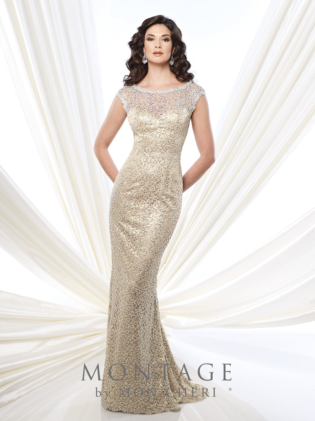 Montage 215912 Elegant beaded lace Long Gown