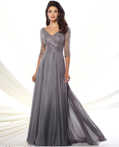 Montage 116950 Long Sleeved Chiffon Gown