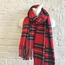 Load image into Gallery viewer, Red Cashmere Feel Tartan Plaid Scarf