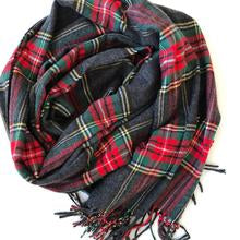 Charcoal Grey Cashmere Feel Tartan Plaid Scarf