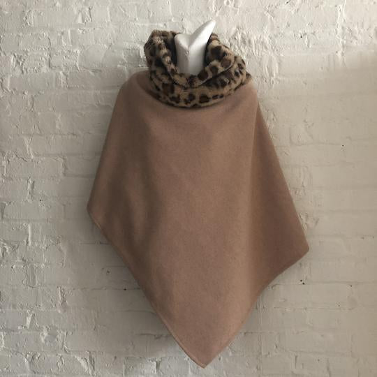 Camel Poncho with Leopard Print Faux Fur Collar