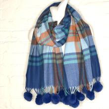 Load image into Gallery viewer, Blue Plaid Scarf with Fur Pom Poms