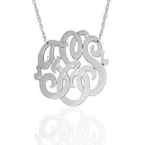 Gold Freeform Script Monogram Necklace