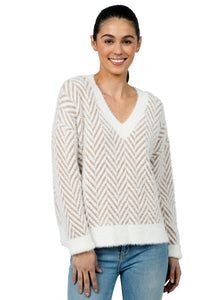 Camel and Ivory Chevron Sweater