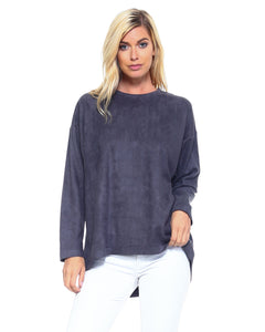 Charcoal Faux Suede Top