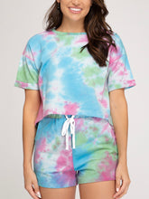 Load image into Gallery viewer, Blue and Pink Tie Dyed Shorts