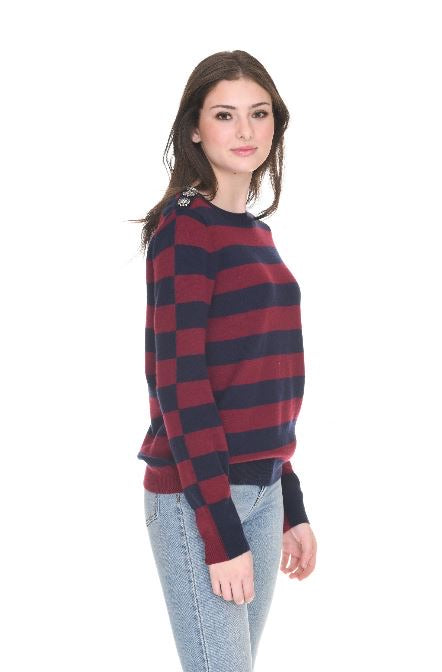 Jewel Button Cashmere Striped Pullover