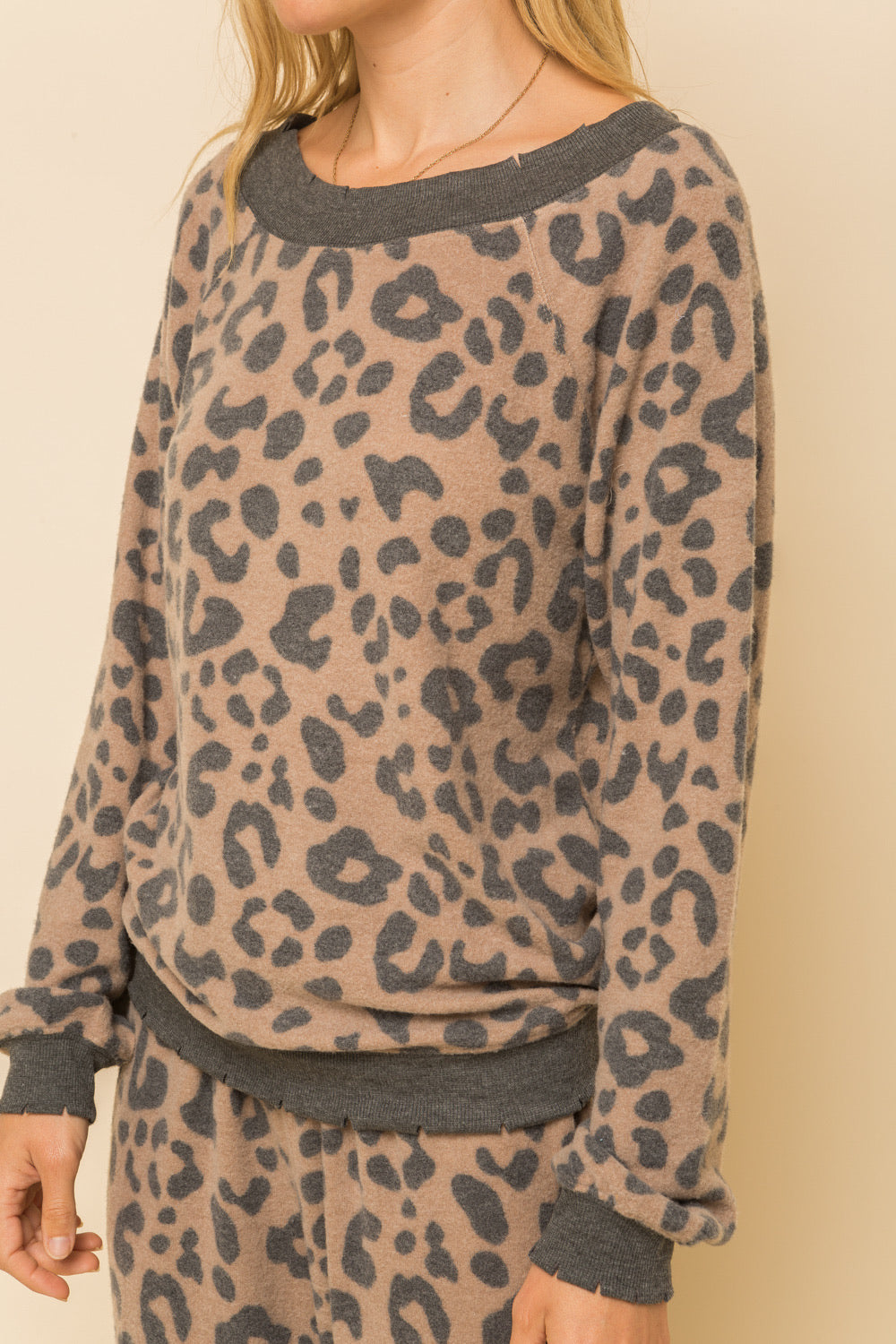 Taupe and Charcoal Animal Print Cozy Top