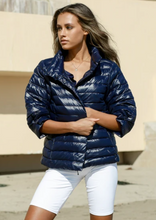 Load image into Gallery viewer, Anorak Navy Crop Sleeve Puffer Jacket