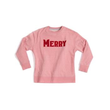 Pink Merry Sweatshirt with Red Letters