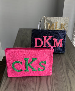 Beaded wristlet and Makeup bag