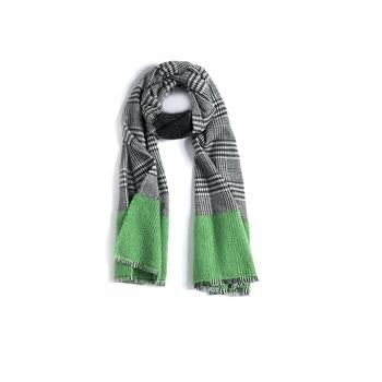 Preppy Plaid Scarf with Green Colorblock
