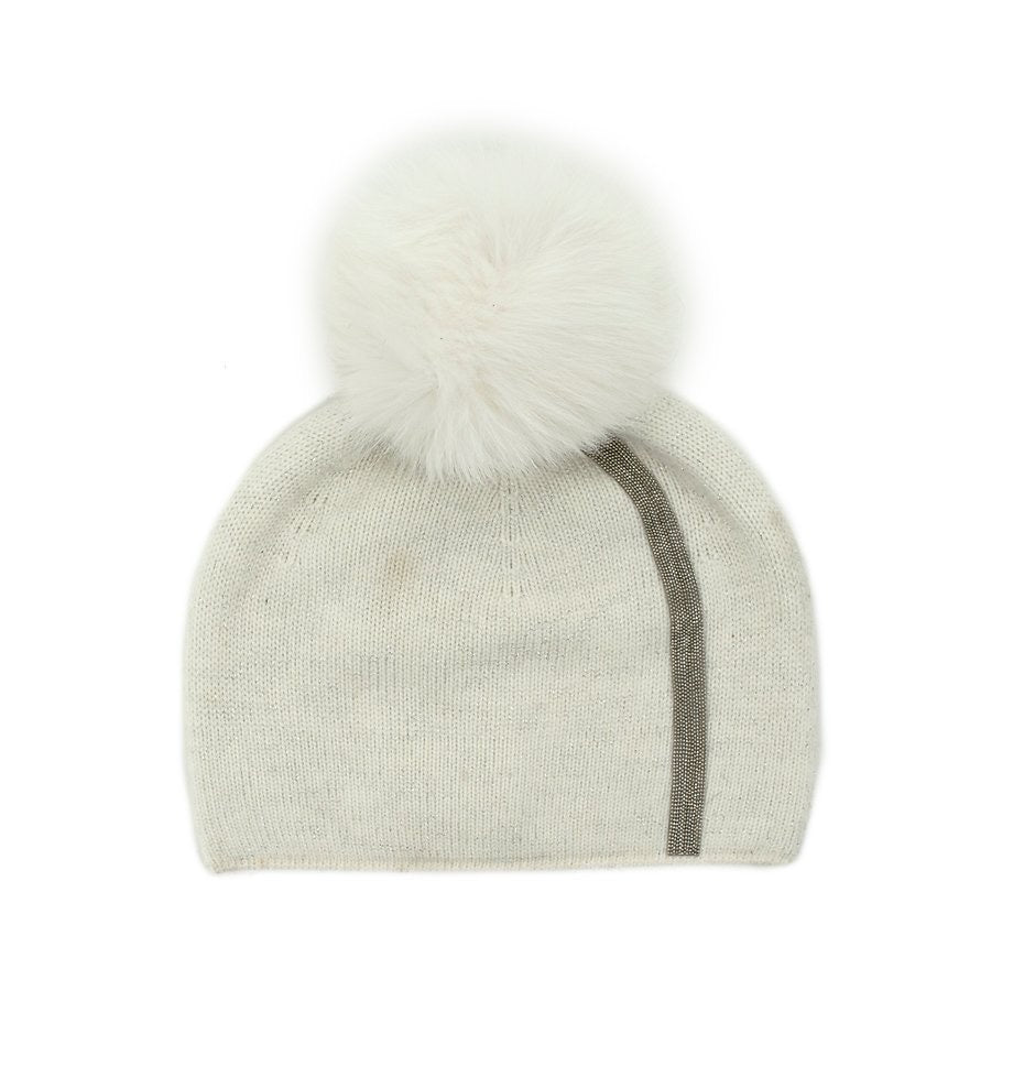White Hat with Metallic Stripe and Fox Pom Pom