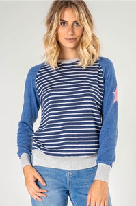 Blue Striped Sweater with Star on Sleeve