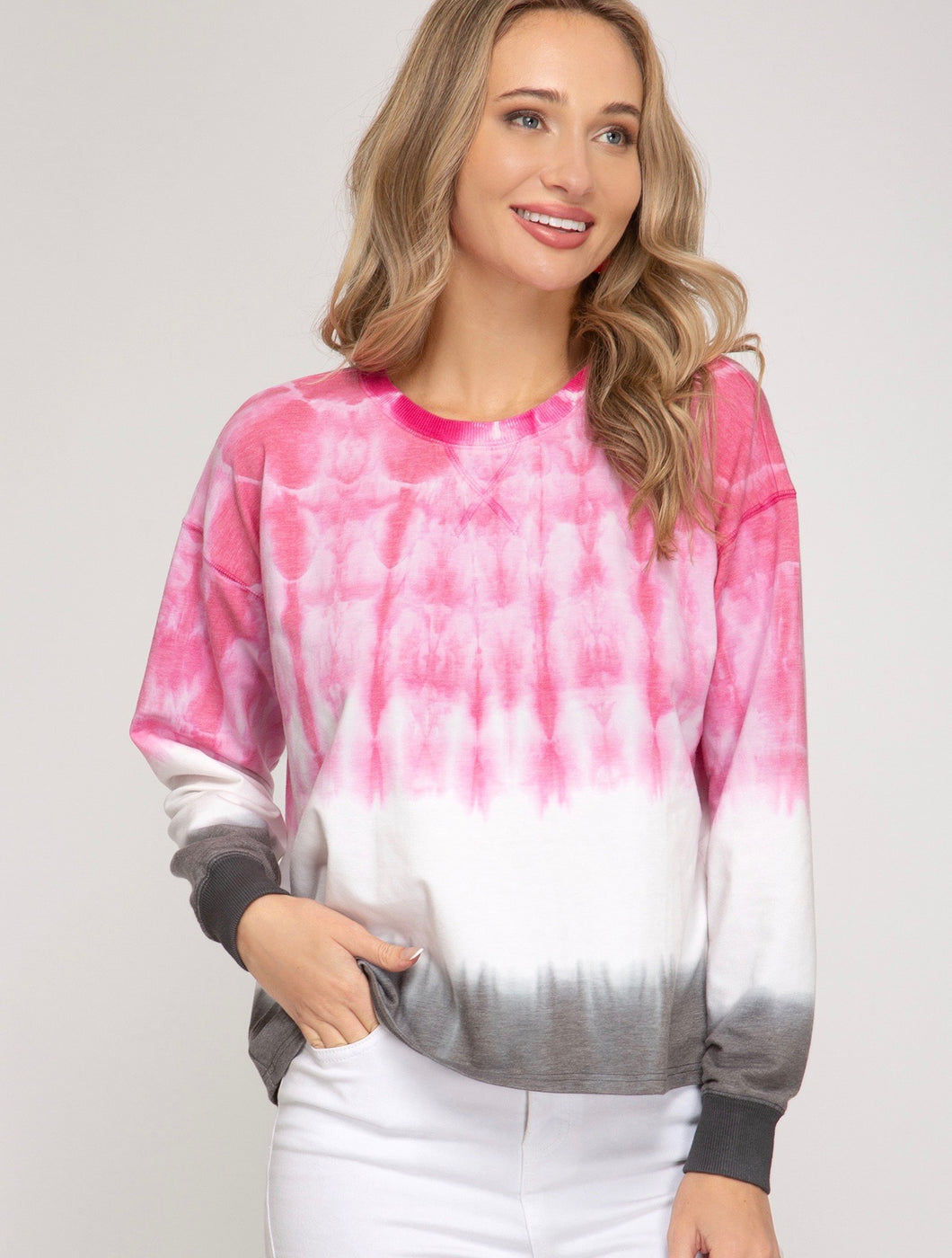 Pink and Grey Tie Dyed Top
