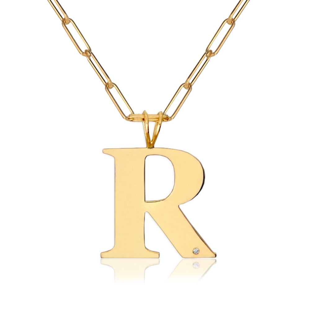 Block Initial & Diamond On Paper Clip Necklace
