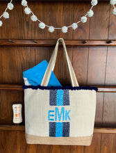 Load image into Gallery viewer, Hamptons Monogrammed Canvas and Beaded Summer Bag