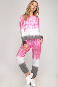 Pink and Grey Tie Dyed Joggers