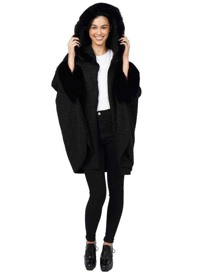 Black Hooded Poncho with Faux Fur Trim