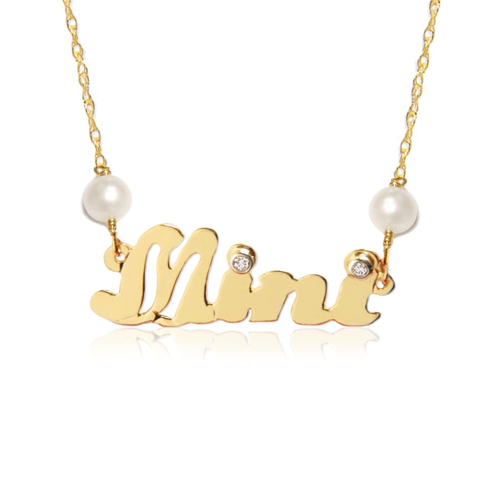 14KT Gold Diamond and Pearl Nameplate Necklace