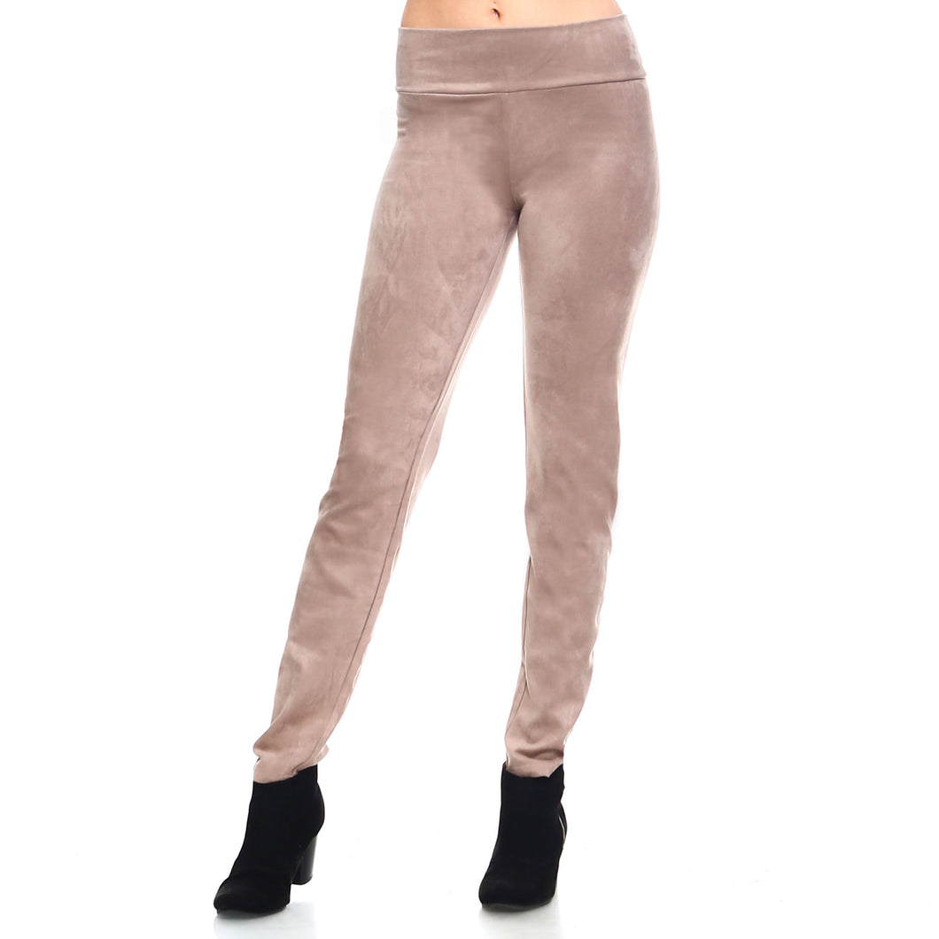 Tan Faux Suede Stretch Pant